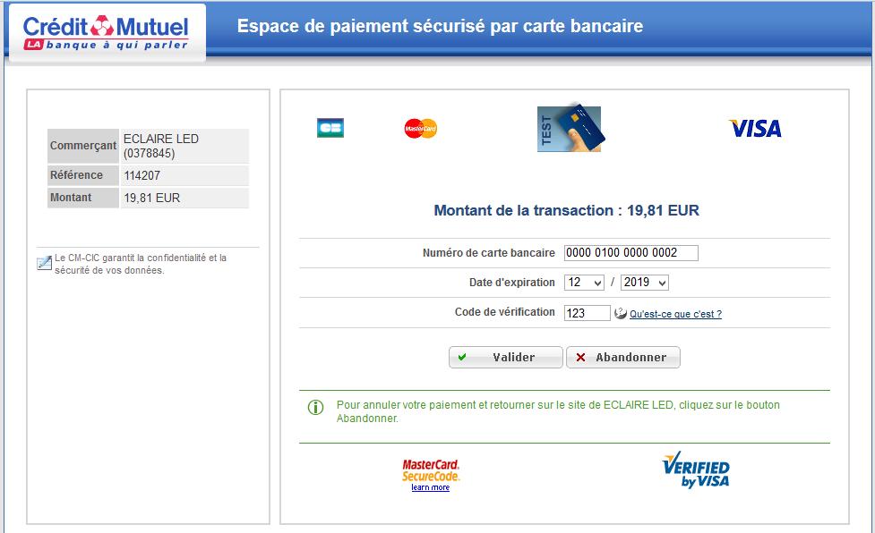 page de paiement bancaire crédit mutuel - module compatible prestashop