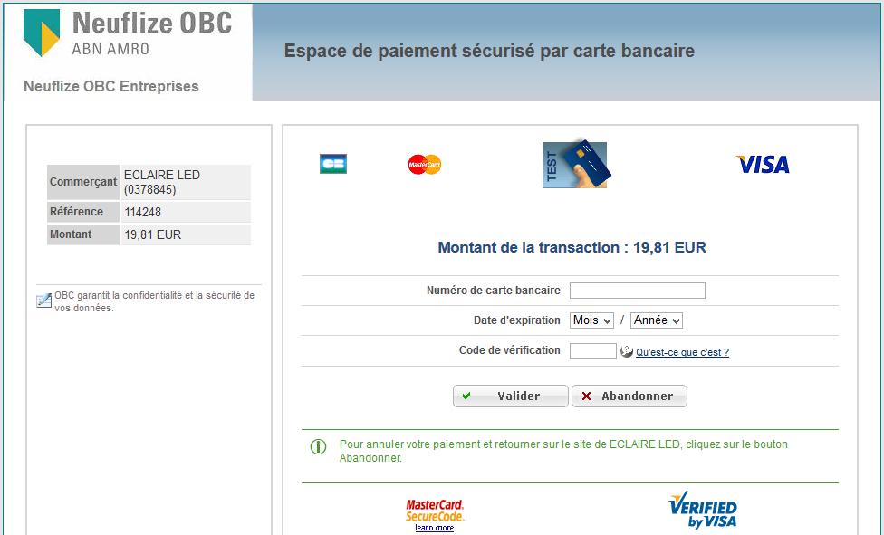 page de paiement bancaire CIC - module compatible prestashop
