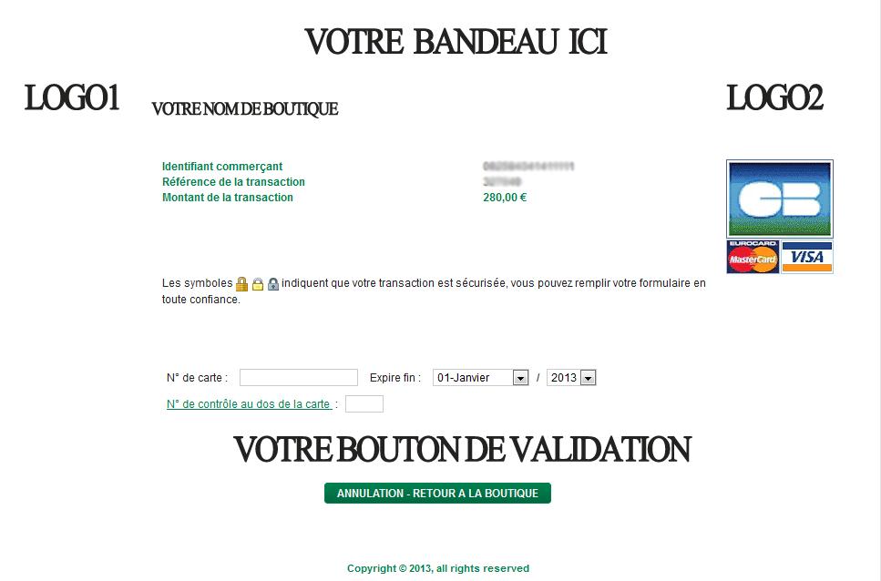 Exemple de page de paiement bancaire appelée depuis prestashop
